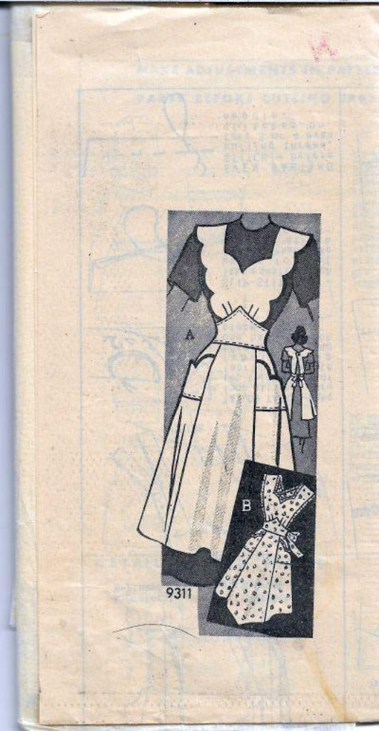 Marian Martin Mail Order 9311 Scalloped Apron Vintage Sewing Pattern 1940s - VintageStitching - Vintage Sewing Patterns
