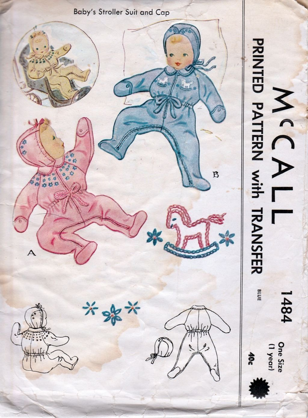 McCall 1484 Vintage 1940's Sewing Pattern Baby Toddler Romper Stroller Suit Cap Adorable - VintageStitching - Vintage Sewing Patterns