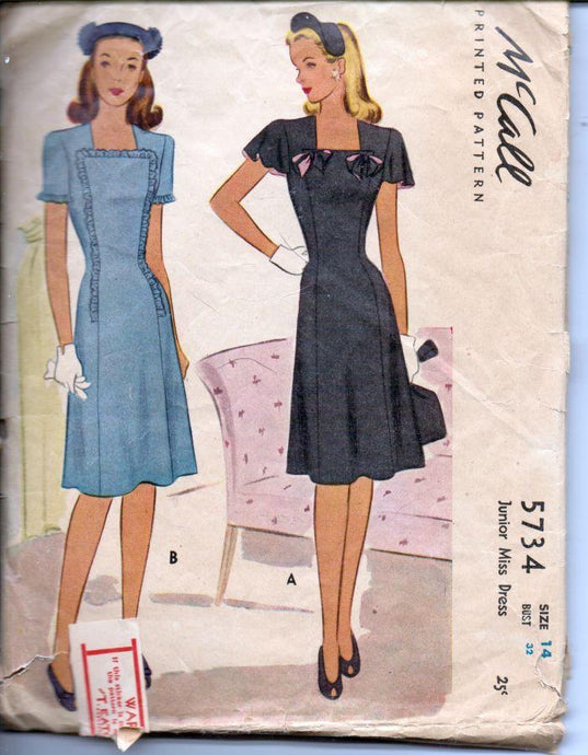 McCall 5734 Vintage 1940's Sewing Pattern Ladies Chic Day Dress Square Neck - VintageStitching - Vintage Sewing Patterns