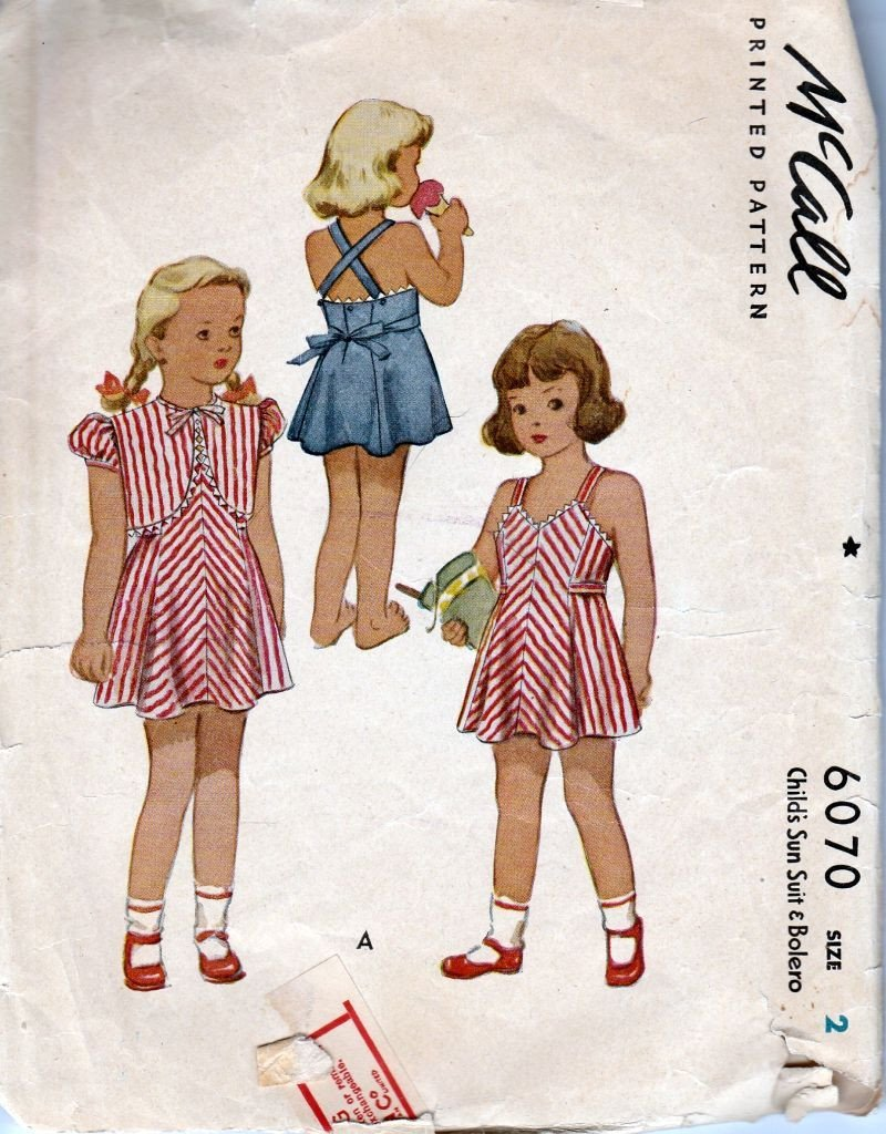 McCall 6070 Vintage 1940's Sewing Pattern Girls Toddler Sun suit Sun Dress Bolero Jacket - VintageStitching - Vintage Sewing Patterns