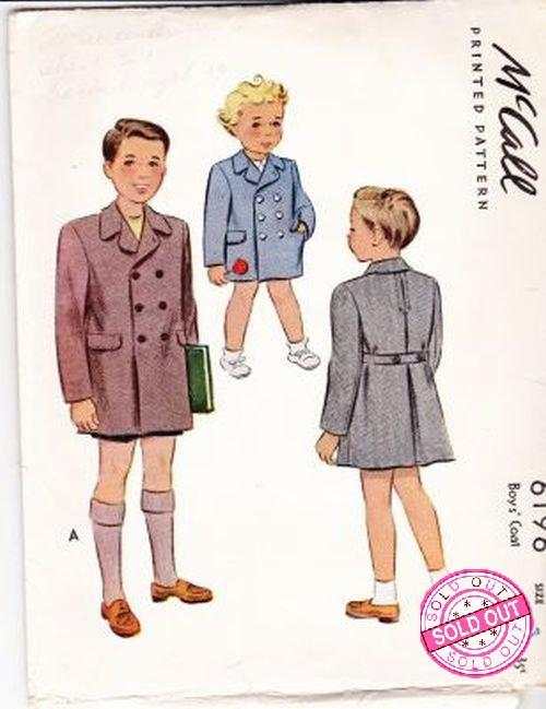 McCall 6196 Boy's Double Breasted Coat Vintage 1940's Sewing Pattern - VintageStitching - Vintage Sewing Patterns