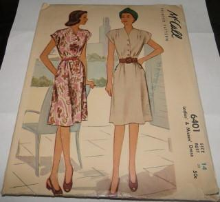 McCall 6401 Vintage Pattern 1940's Ladies Day Dress Softly Gathered Skirt Capped Sleeves Retro - VintageStitching - Vintage Sewing Patterns
