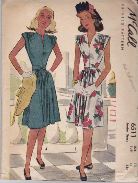 Vintage Sewing Pattern McCall 6511 Ladies Junior Dress Afternoon Formal 1940s - VintageStitching - Vintage Sewing Patterns
