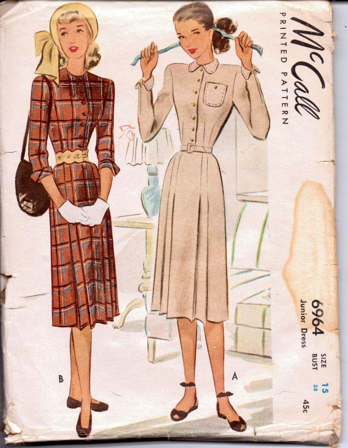 McCall 6964 Vintage 1940's Sewing Pattern Ladies Day Dress Chic Front Buttoned Rare - VintageStitching - Vintage Sewing Patterns