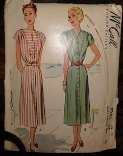 McCall 7165 Vintage Pattern Ladies Shirtwaist Day Dress 1940's Front Button - VintageStitching - Vintage Sewing Patterns