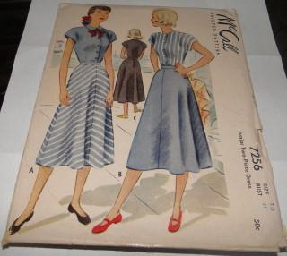McCall 7256 Vintage 1940's Sewing Pattern Junior Day Dress Two-Piece Flared Skirt Capped Sleeves - VintageStitching - Vintage Sewing Patterns