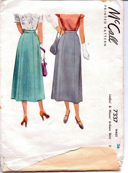 McCall 7337 Vintage 1940's Sewing Pattern Ladies Chic Gore Skirt with Waistband - VintageStitching - Vintage Sewing Patterns
