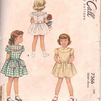 McCall 7366 Toddler's Party Dress Contrast Ruffles Tie Back Vintage 1940's Sewing Pattern - VintageStitching - Vintage Sewing Patterns