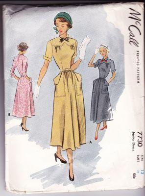 McCall 7730 Vintage 1940's Sewing Pattern Ladies Junior Day Dress with Pockets Back Opening - VintageStitching - Vintage Sewing Patterns
