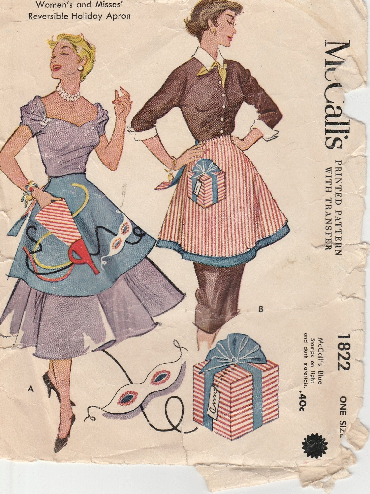 McCall's 1822 Holiday Apron Vintage Pattern 1950's Reversible - VintageStitching - Vintage Sewing Patterns