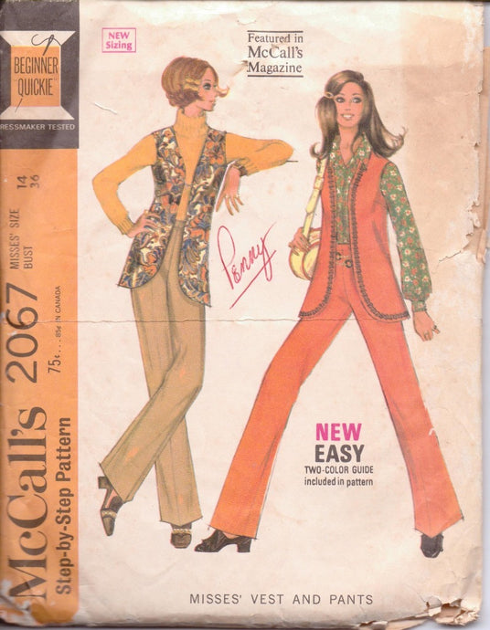 McCall's 2067 Ladies Vest Pants Vintage 1960's Sewing Pattern - VintageStitching - Vintage Sewing Patterns