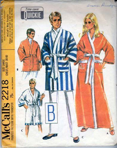 McCall's 2218  Men's Robe With Monogram Vintage 1960's Sewing Pattern - VintageStitching - Vintage Sewing Patterns