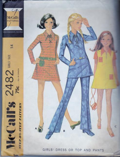 McCall's 2482 Girls Dress Top Bell Bottom Pants Side Zipper Opening Vintage 1970's Sewing Pattern - VintageStitching - Vintage Sewing Patterns
