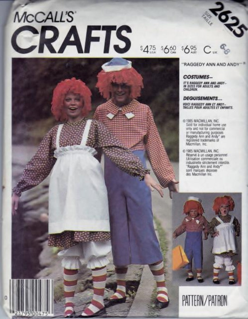 McCall's 2625 Raggedy Ann Andy Halloween Costume Boy Girl Vintage 1980's Pattern - VintageStitching - Vintage Sewing Patterns