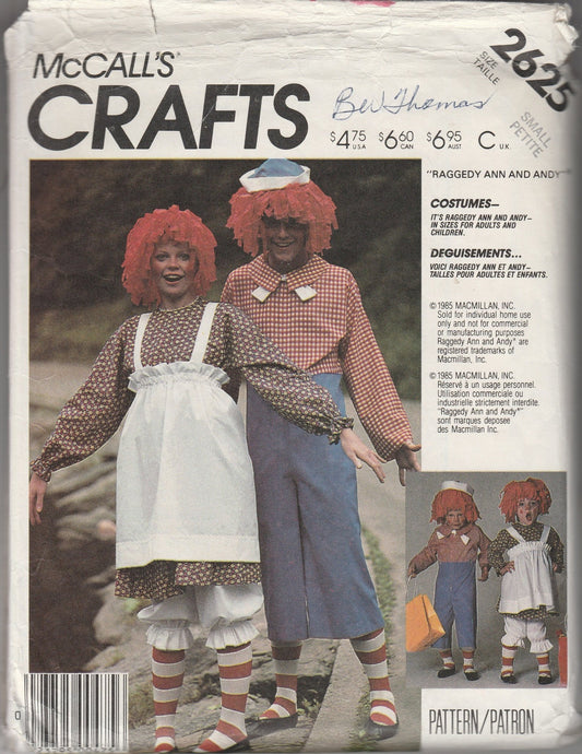 McCall's 2625 Raggedy Ann Andy Halloween Costume Vintage Sewing Pattern Ladies Men - VintageStitching - Vintage Sewing Patterns