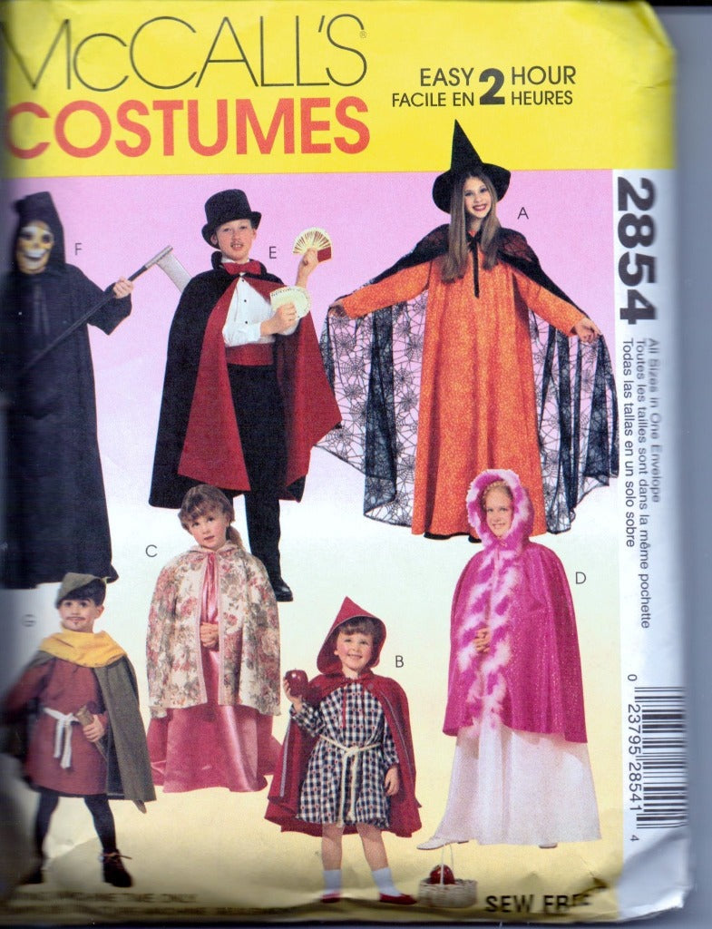 McCall's 2854 Childrens Cape andTunic Halloween Costume Pattern Boy Girl - VintageStitching - Vintage Sewing Patterns