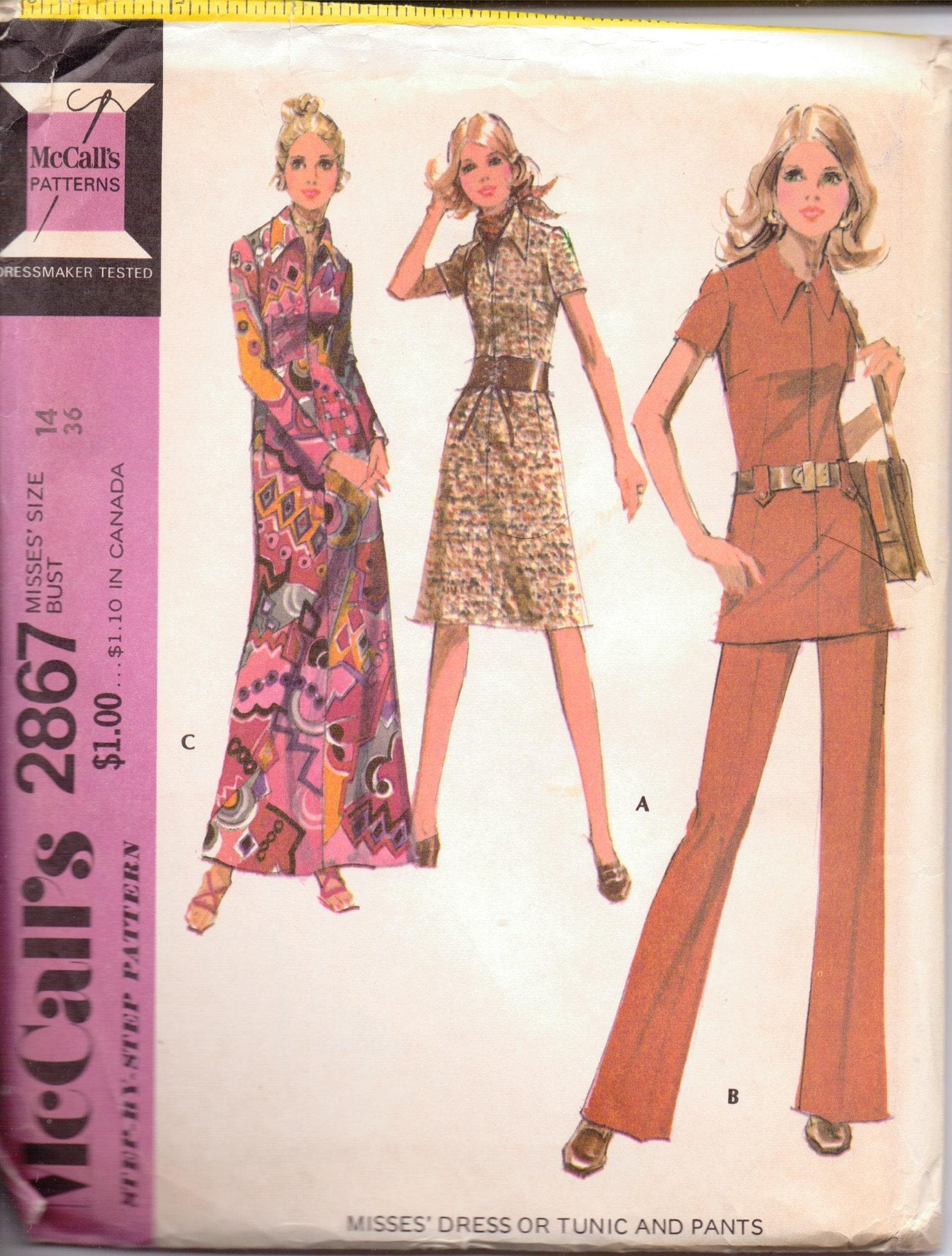 McCall's 2867 Ladies Dress Tunic Top Pants Vintage 1970's Sewing Pattern - VintageStitching - Vintage Sewing Patterns