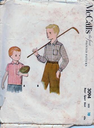McCall's 3094 Boys Sport Shirt Vintage 1950's Sewing Pattern - VintageStitching - Vintage Sewing Patterns
