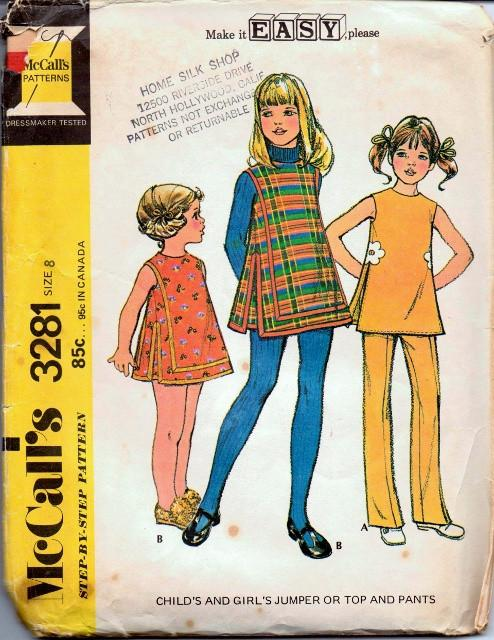 McCall's 3281 Girls Back Zippered Jumper Dress Top Bell Bottom Pants Vintage 1970's Sewing Pattern - VintageStitching - Vintage Sewing Patterns