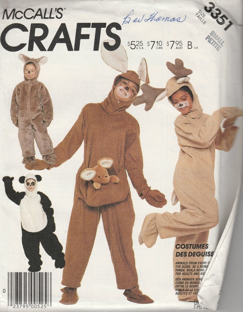 McCall's 3351 Adult Animal Halloween Costume Sewing Pattern Vintage 1980's Panda Kangaroo Reindeer Koala - VintageStitching - Vintage Sewing Patterns