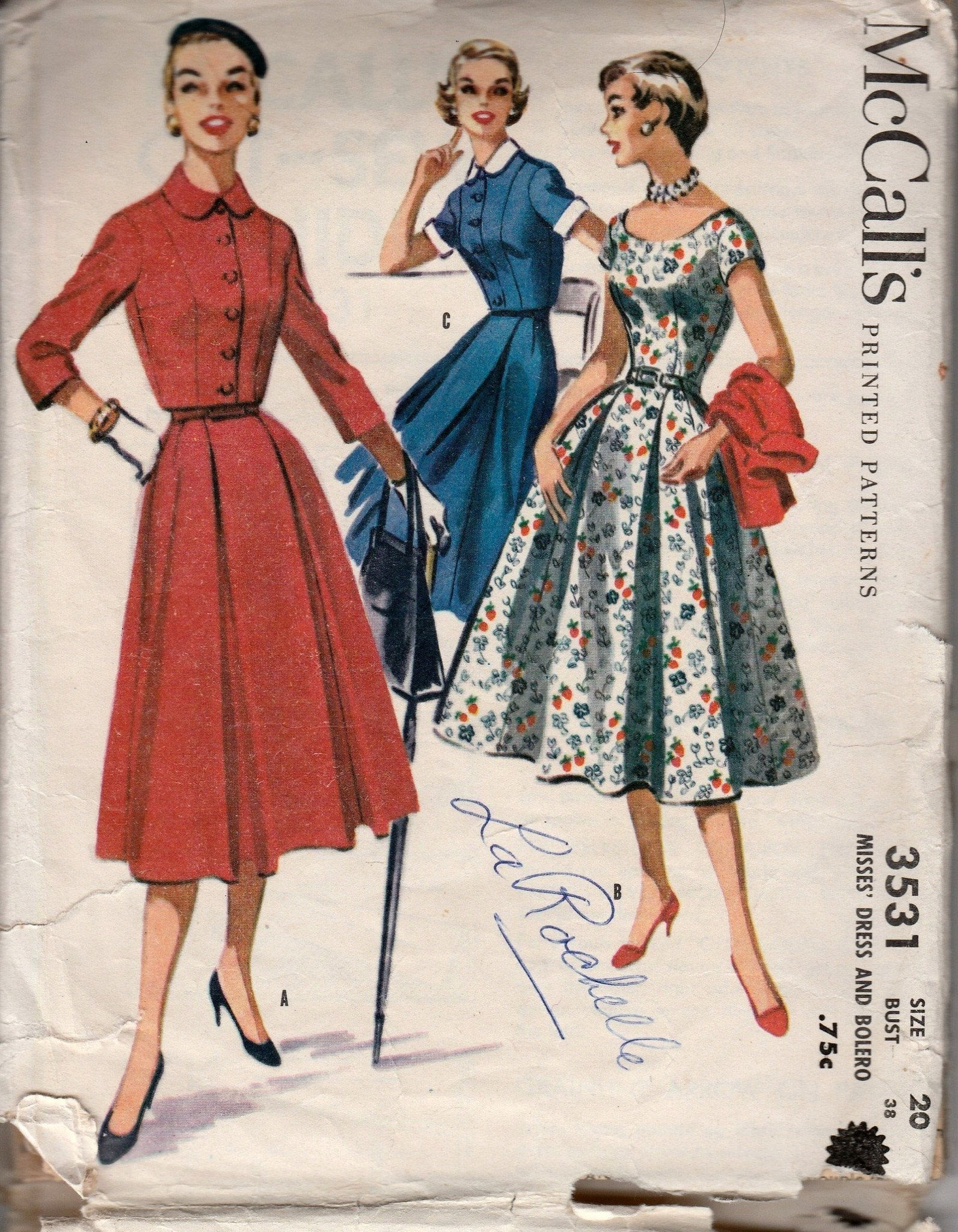 McCall's 3531 Ladies Shirtwaist Dress Bolero Jacket Vintage 1950's Sewing Pattern - VintageStitching - Vintage Sewing Patterns