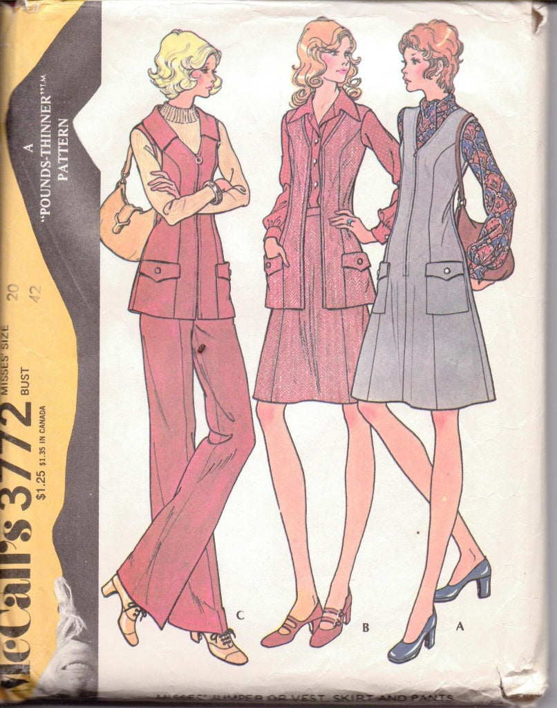 McCall's 3772 Ladies Jumper Dress Vest Skirt Pants Vintage 1970's Sewing Pattern - VintageStitching - Vintage Sewing Patterns