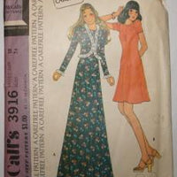 McCall's 3916 Vintage Sewing Pattern Ladies Long Back Zippered Mini Dress and Jacket Puff Sleeves - VintageStitching - Vintage Sewing Patterns