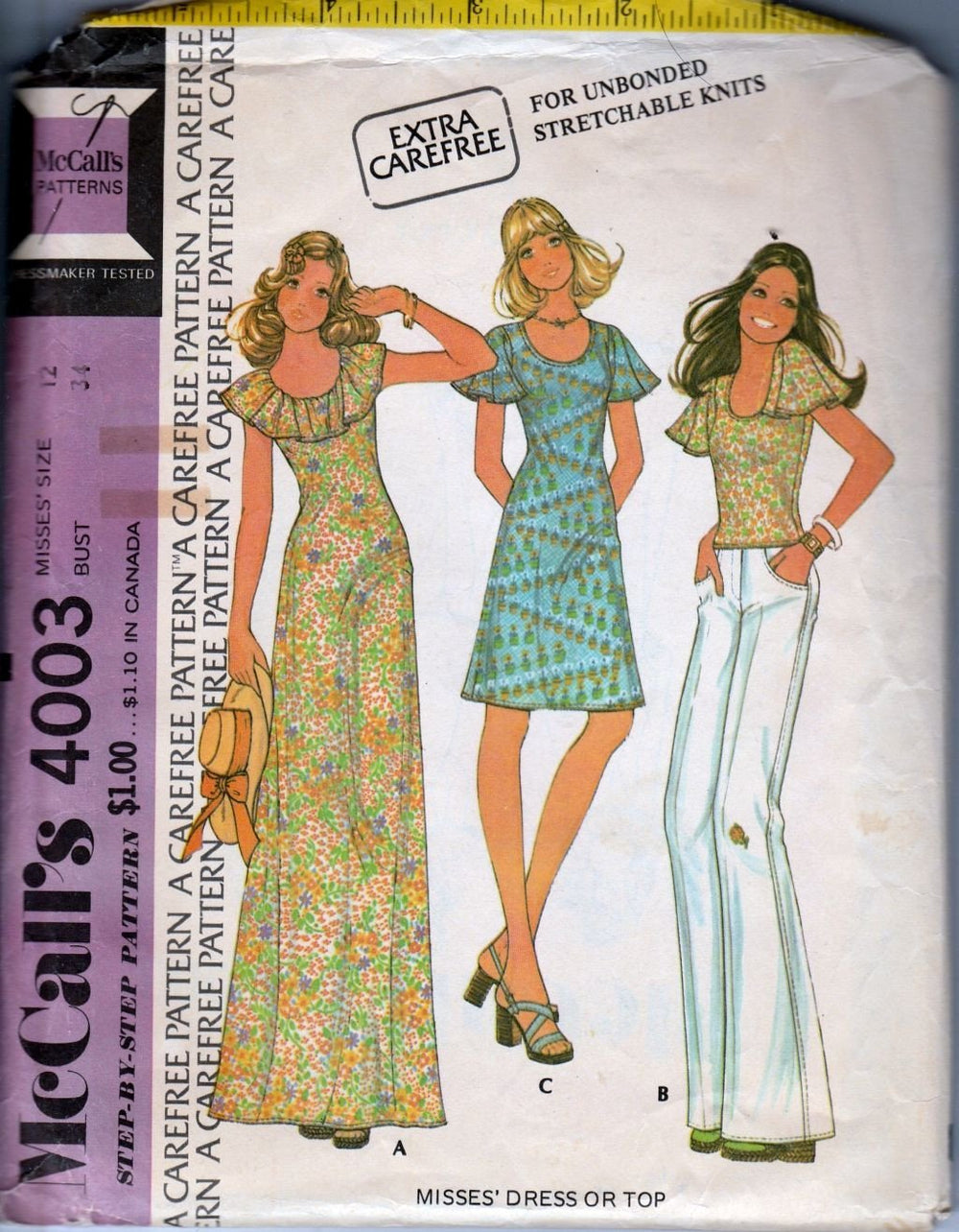McCall's 4003 Vintage 1970's Sewing Pattern Ladies Knit Hippie Dress Shirt - VintageStitching - Vintage Sewing Patterns