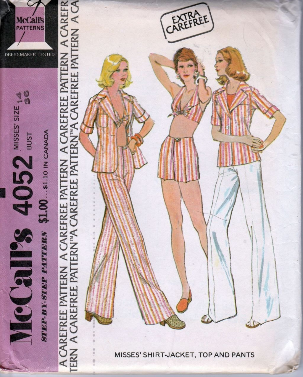 McCall's 4052 Vintage 1970's Sewing Pattern Ladies Summer Halter Top Shirt Jacket Pants Shorts - VintageStitching - Vintage Sewing Patterns