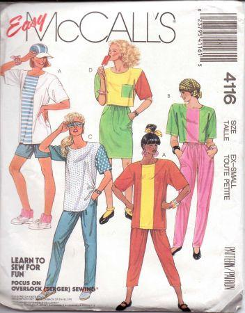 McCall's 4116 Ladies Top Skirt Pants Shorts Vintage 1980's Pattern - VintageStitching - Vintage Sewing Patterns