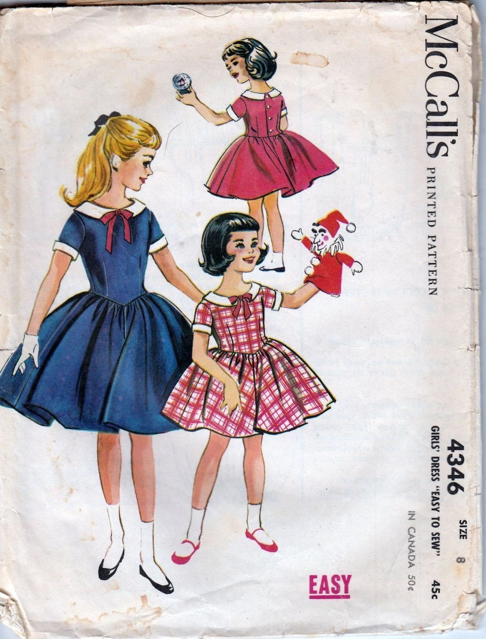 McCall's 4346 Vintage 1950's Sewing Pattern Young Girls Rockabilly Dress - VintageStitching - Vintage Sewing Patterns