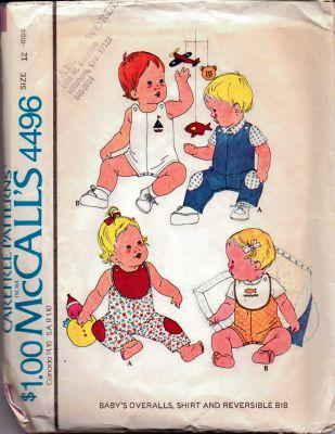 McCall's 4496 Baby Summer Overalls Shirt Bib Vintage Sewing Pattern - VintageStitching - Vintage Sewing Patterns
