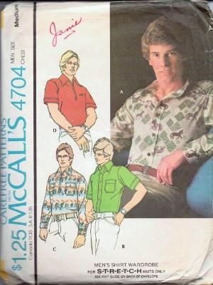 McCall's 4704 Mens Shirts For Stretchable Knits Vintage 1970's Pattern - VintageStitching - Vintage Sewing Patterns
