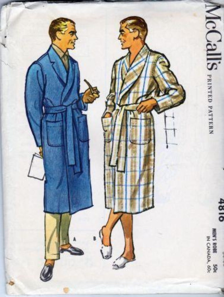 McCall's 4816 Mens Robe Vintage 1950's Sewing Pattern - VintageStitching - Vintage Sewing Patterns