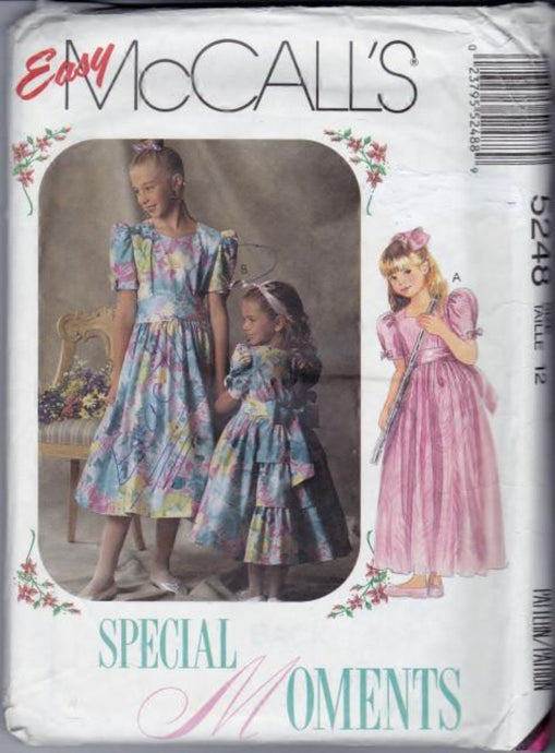 McCall's 5248 Girls Long Short Dress with Sash Vintage 1990's Pattern - VintageStitching - Vintage Sewing Patterns