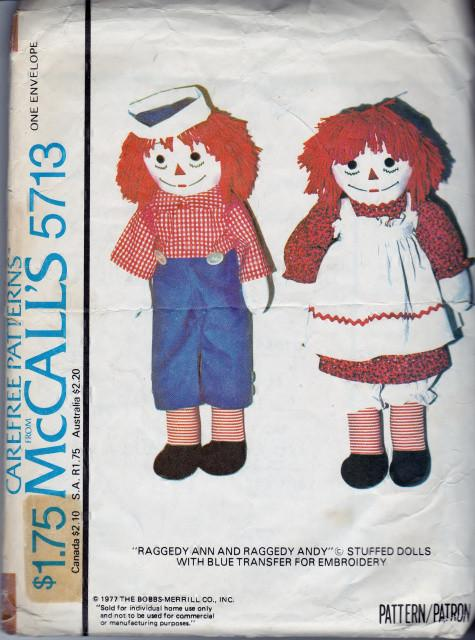 McCall's 5713 Raggedy Ann Raggedy Andy Dolls Vintage 1970's Sewing Pattern - VintageStitching - Vintage Sewing Patterns