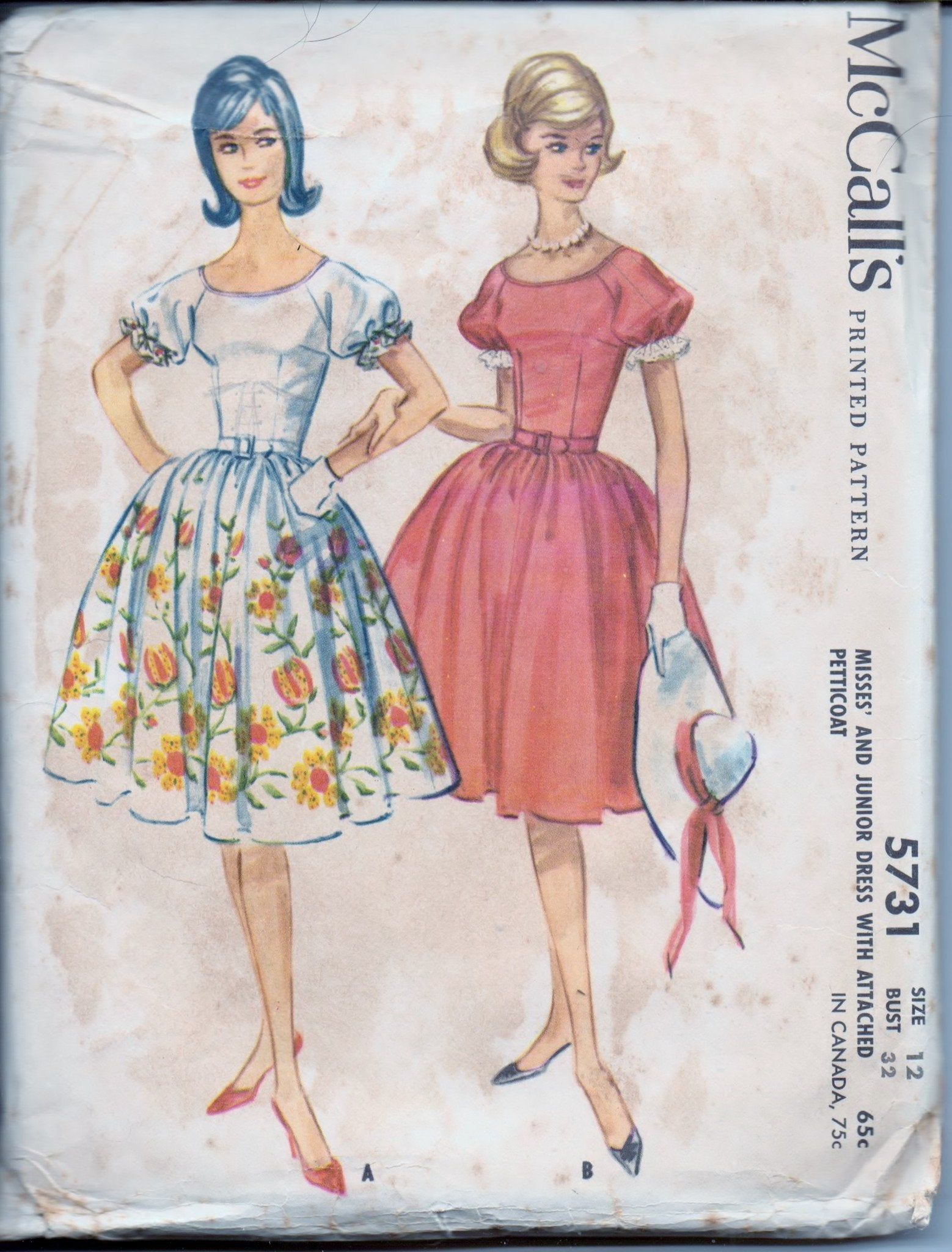 McCall's 5731 Ladies Raglan Sleeve Dress Attached Petticoat Vintage 1960's Sewing Pattern - VintageStitching - Vintage Sewing Patterns