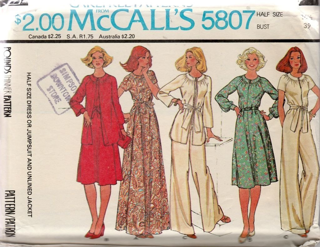 McCall's 5807 Vintage 1970's Sewing Pattern Ladies Half Size Jumpsuit Jacket Dress - VintageStitching - Vintage Sewing Patterns
