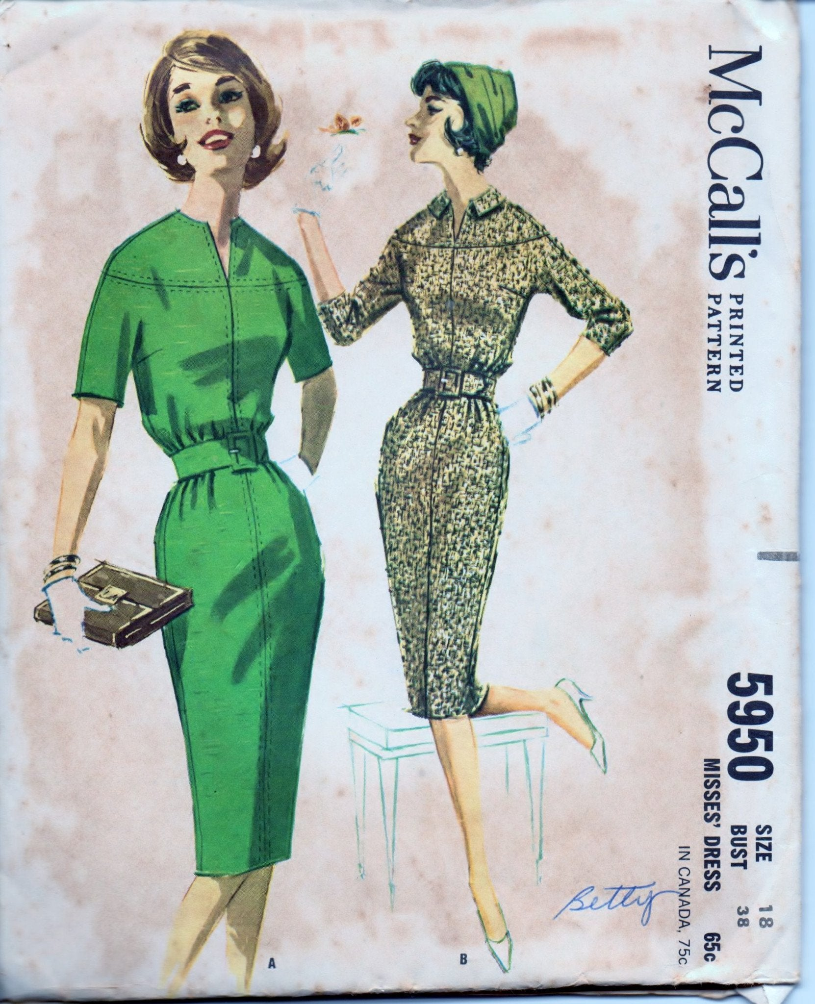 McCall's 5950 Ladies Dress with Bloused Bodice Vintage 1960's Sewing Pattern - VintageStitching - Vintage Sewing Patterns