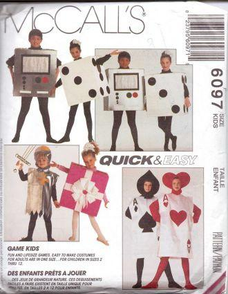 McCall's 6097 Childrens Playing Card Knight Dice Video Game Gift Halloween Costume Pattern - VintageStitching - Vintage Sewing Patterns
