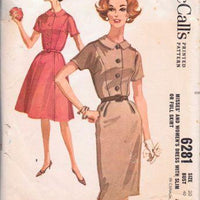 McCall's 6281 Misses Shirtwaist Housewife Hostess Dress Vintage 1960's Sewing Pattern - VintageStitching - Vintage Sewing Patterns