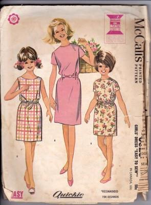 McCall's 6829 Girls Slim School Sleeveless Low Neckline Dress Vintage Sewing Pattern 1960's - VintageStitching - Vintage Sewing Patterns