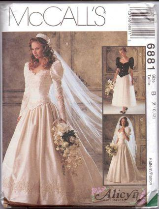 McCall's 6881 Wedding Bridal Bridesmaid Gown Dress Pattern Alicyn - VintageStitching - Vintage Sewing Patterns