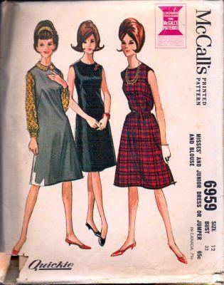 McCall's 6959 Ladies Sleeveless Jumper Sheath Round Neckline Darted Dress Blouse Vintage Pattern - VintageStitching - Vintage Sewing Patterns