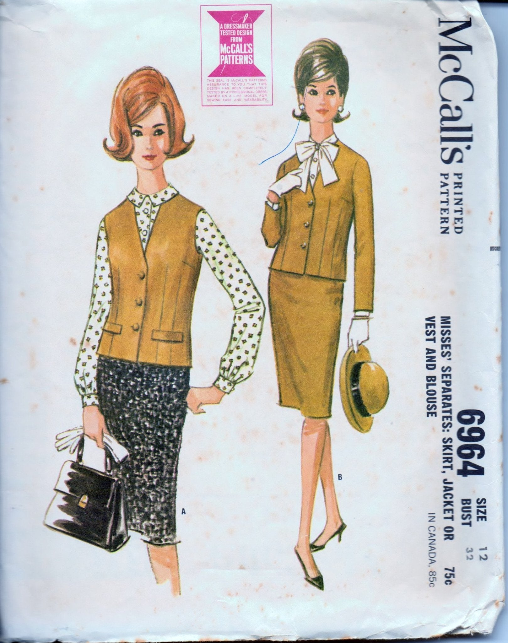 McCall's 6964 Ladies Separates Skirt Jacket Vest Blouse Vintage 1960's Sewing Pattern - VintageStitching - Vintage Sewing Patterns