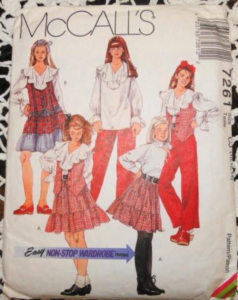 McCall's 7261 Pattern Girls Button Front Vest Blouse Tiered Skirt Pull On Pants Vintage - VintageStitching - Vintage Sewing Patterns