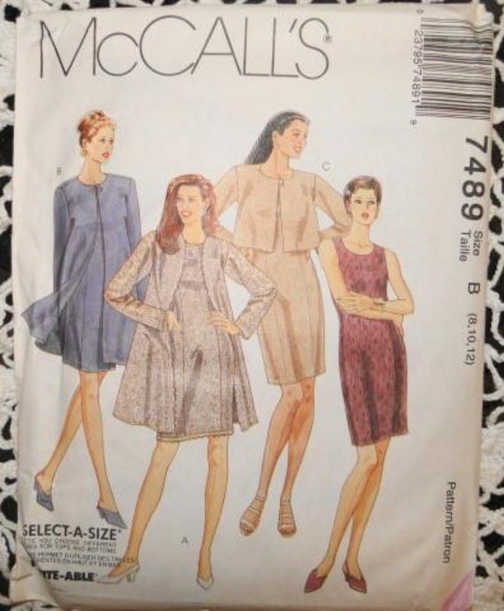 McCall's 7489 Sewing Pattern Misses Dress Jacket Vintage 1990's - VintageStitching - Vintage Sewing Patterns