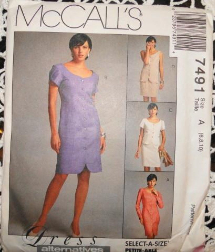 McCall's 7491 Sewing Pattern Dress Top Skirt Petite-Able Vintage 1990's - VintageStitching - Vintage Sewing Patterns