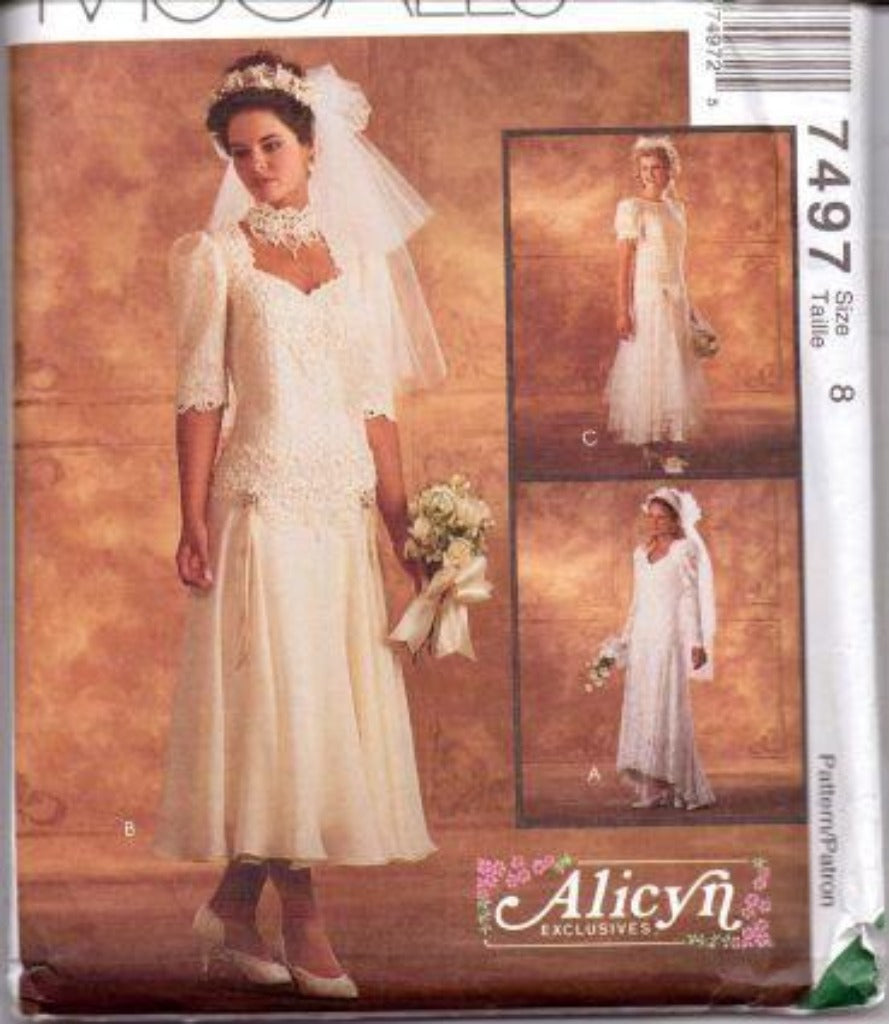 McCall's 7497 Wedding Bridal Gown Bridesmaid Dress Sewing Pattern - VintageStitching - Vintage Sewing Patterns