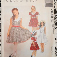 McCall's 7559 Sewing Pattern Vintage 1990's Girls Dress Petticoat - VintageStitching - Vintage Sewing Patterns